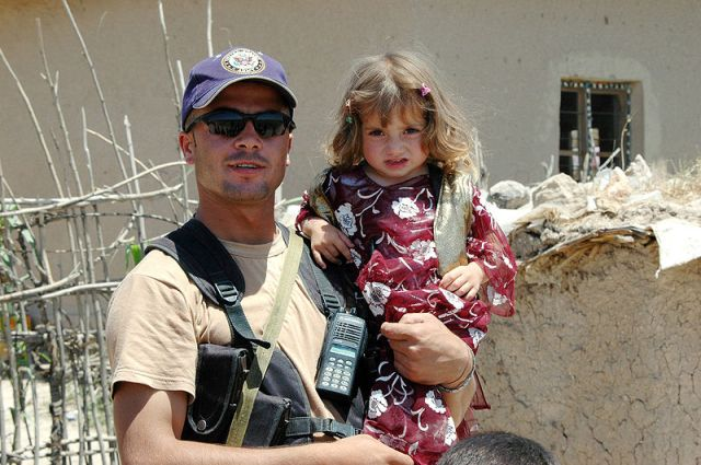 Peshmerga Kurd with Daughter