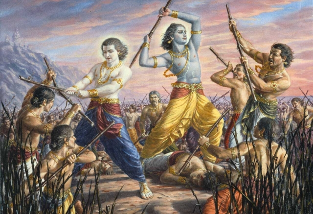 Krishna and Balaram fight the Yadu Dynasty