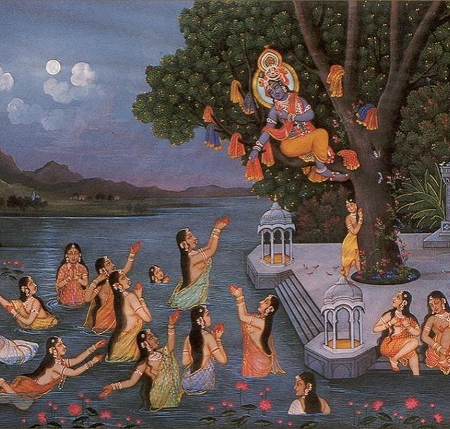 krishna-stealing-the-cloths-of-the-gopis- painting